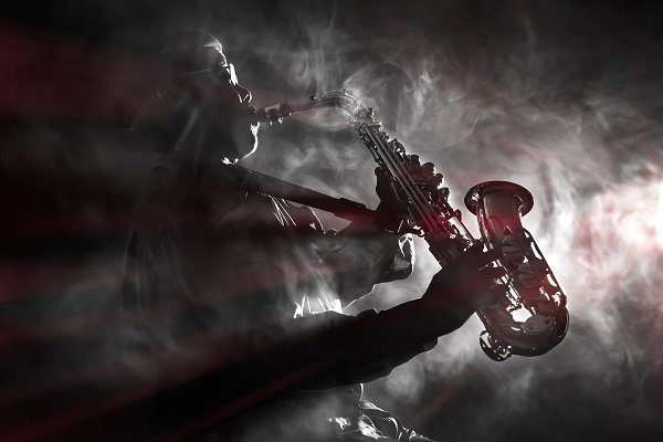 Band African American Man Playing A Saxaphone In A Smoke Filled Room 9